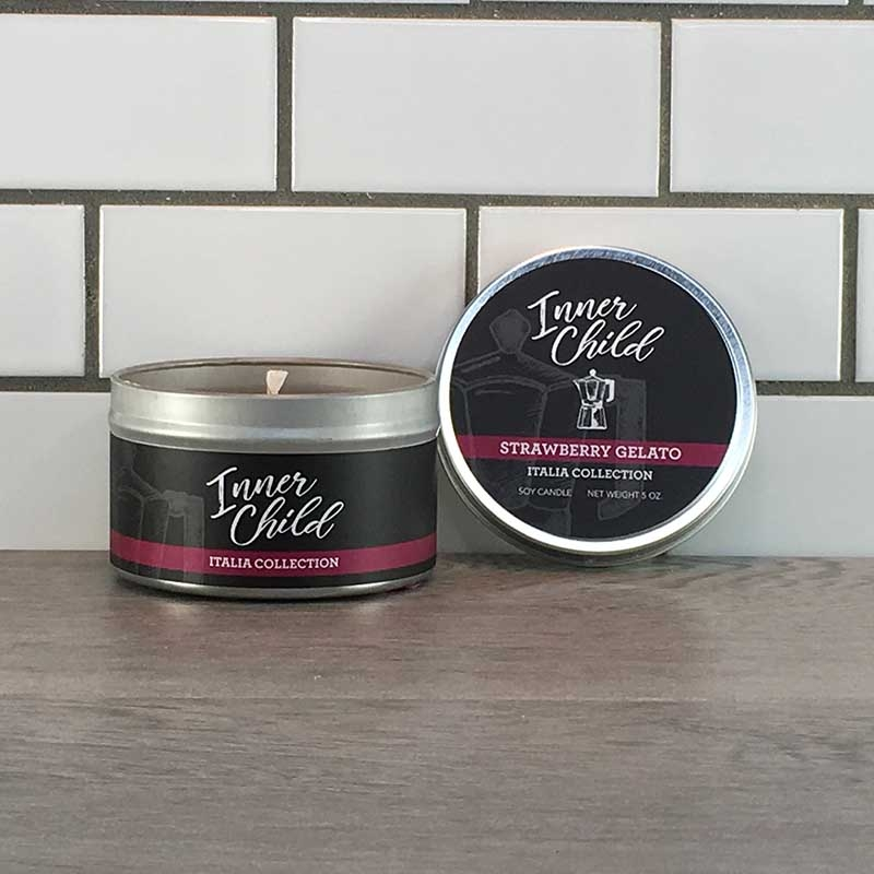 Strawberry Gelato Scented Soy Wax Candle in Tin